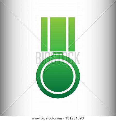 Medal sign. Green gradient icon on gray gradient backround.