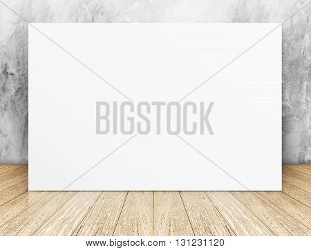 White Blank Square Poster In Concrete Wall And Wooden Floor Room,template Mock Up For Your Content