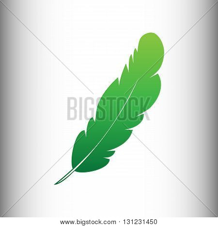 Feather sign. Green gradient icon on gray gradient backround.
