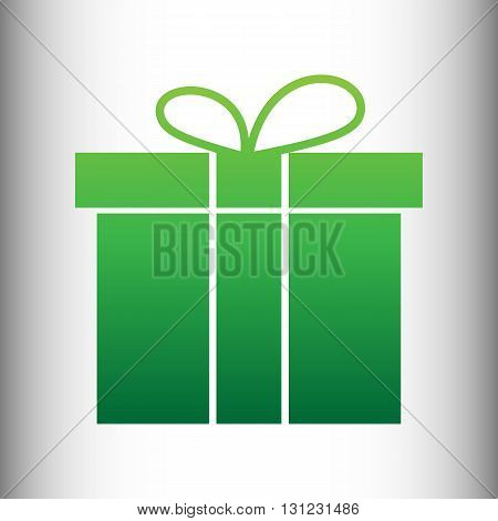 Gift box sign. Green gradient icon on gray gradient backround.