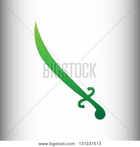 Sword sign. Green gradient icon on gray gradient backround.