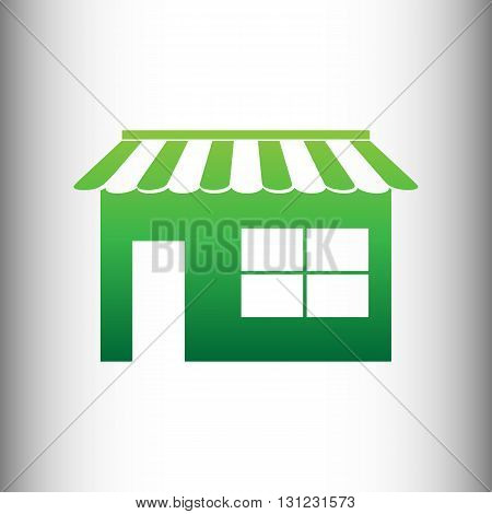 Store sign. Green gradient icon on gray gradient backround.
