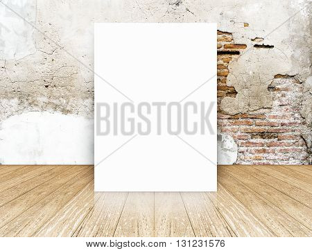 White Blank Poster In Crack Brick Wall And Concrete Floor Room,template Mock Up For Your Content