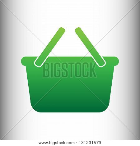 Shopping basket sign. Green gradient icon on gray gradient backround.
