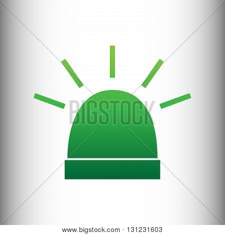 Police single sign. Green gradient icon on gray gradient backround.