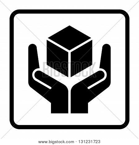 Handle with care sign in a black square. Fragile or packaging symbol. Fragile cardboard black icon isolated on a white background. Stock vector illustration
