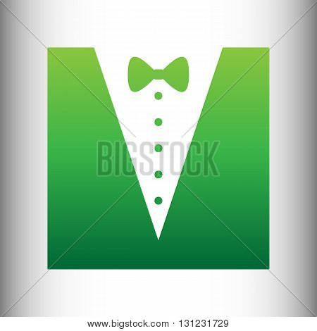 Tuxedo with bow silhouette. Green gradient icon on gray gradient backround.