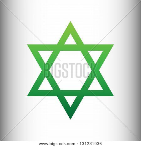 Star. Shield Magen David. Symbol of Israel. Green gradient icon on gray gradient backround.