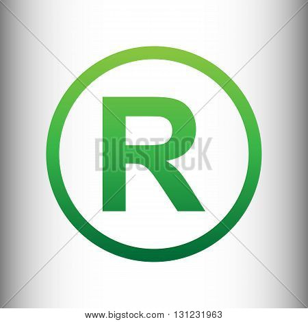 Registered Trademark sign. Green gradient icon on gray gradient backround.