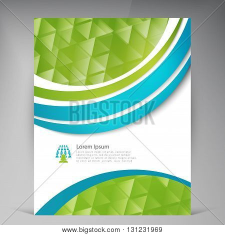 Vector Beautiful Green Flyer. Template flyers design. Business brochure. Triangles