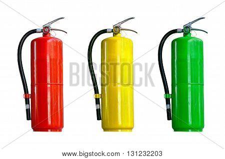 Many fire extinguisher tank on white background