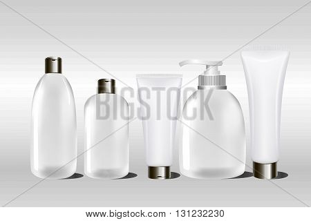 Realistic blank white cosmetic cream container and tube for cream, ointment, lotion, shampoo. Mock up bottle. Gel, powder, balsam.l. Soap pump. Containers for bulk mixtures. 3D illustration