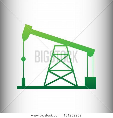 Oil drilling rig sign. Green gradient icon on gray gradient backround.