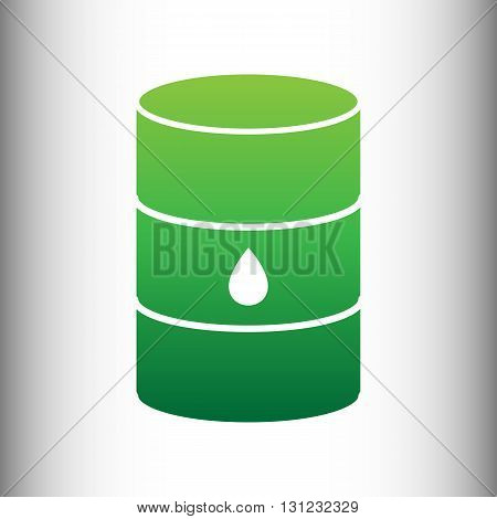 Oil barrel sign. Green gradient icon on gray gradient backround.