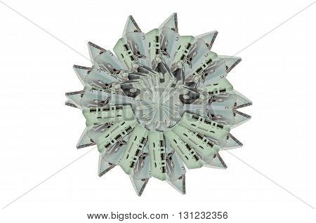 Many Audio cassette and tape on white background