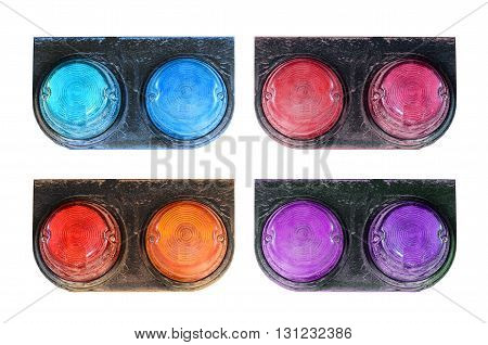 Many color aTail lights of truck on white background