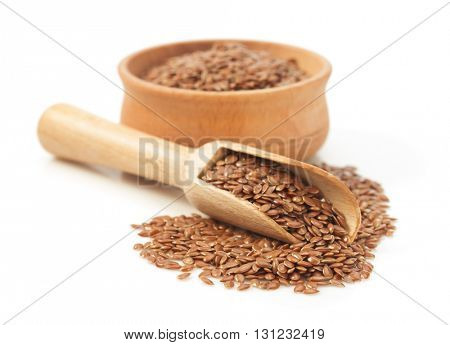 flax seeds isolated on white background