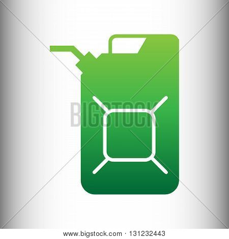 Jerrycan oil sign. Jerry can oil sign. Green gradient icon on gray gradient backround.