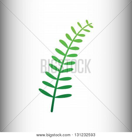 Olive twig sign. Green gradient icon on gray gradient backround.