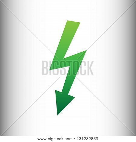 High voltage danger sign. Green gradient icon on gray gradient backround.