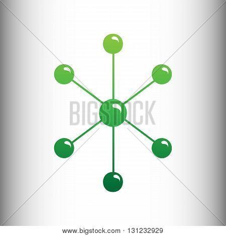 Molecule sign. Green gradient icon on gray gradient backround.