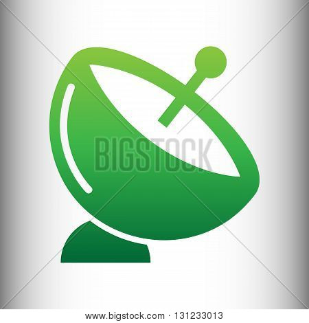 Satellite dish sign. Green gradient icon on gray gradient backround.