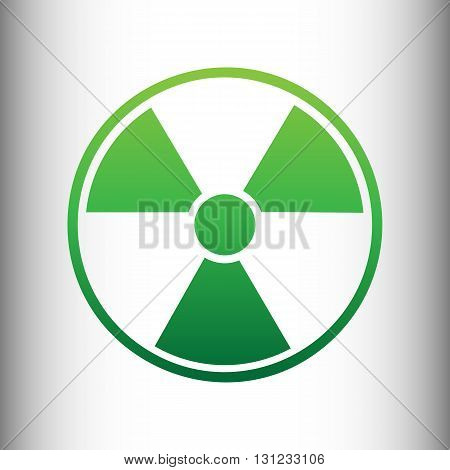 Radiation Round sign. Green gradient icon on gray gradient backround.
