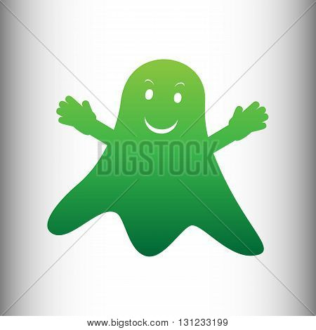Ghost isolated sign. Green gradient icon on gray gradient backround.