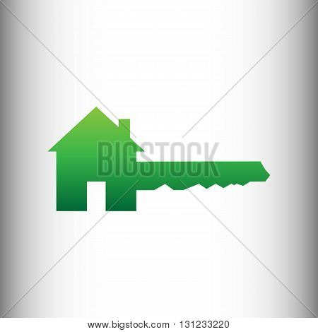 Home Key sign. Green gradient icon on gray gradient backround.