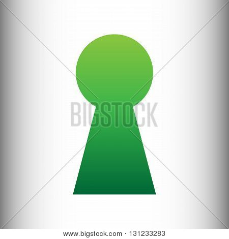 Keyhole sign. Green gradient icon on gray gradient backround.