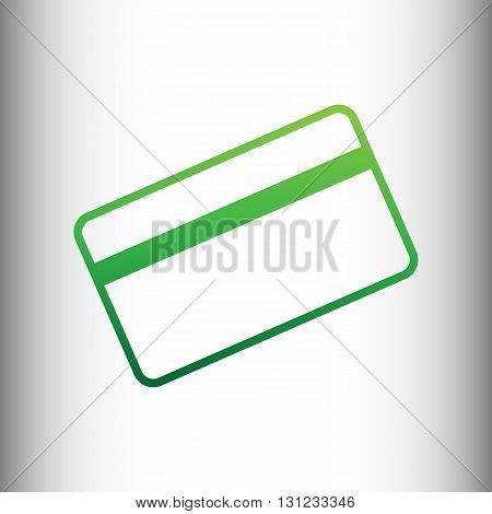 Credit card symbol for download. Green gradient icon on gray gradient backround.