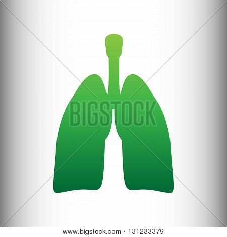 Human organs. Lungs sign. Green gradient icon on gray gradient backround.