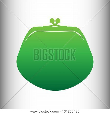 Purse sign. Green gradient icon on gray gradient backround.
