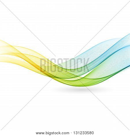 Abstract motion smooth color wave . Curve green and blue lines
