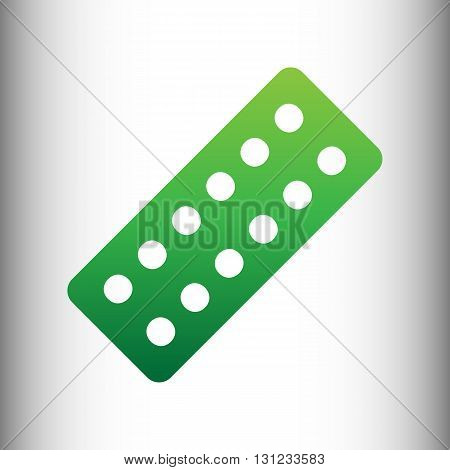 Pills sign. Green gradient icon on gray gradient backround.