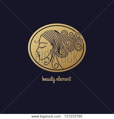 Vector abstract icon/Image of head beautiful girl in circle/Template logo pattern in trend of modern linear style/Beauty symbol/Design for beauty hair salons cosmetics/Gold foil on black background