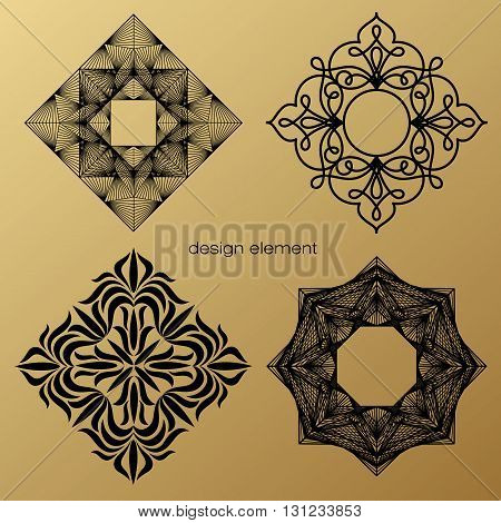 Set of vector design elements. Template for logo icon symbol emblem monogram frame. Linear trend style. Illustration black pattern on gold background. Concept of unusual abstract luxury decor.