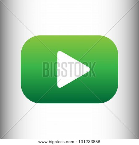 Play sign. Green gradient icon on gray gradient backround.