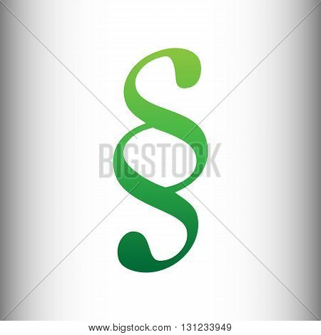 Paragraph sign. Green gradient icon on gray gradient backround.