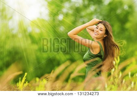 Woman Happy Beautiful Active Free Girl on Summer Green Outdoor Background