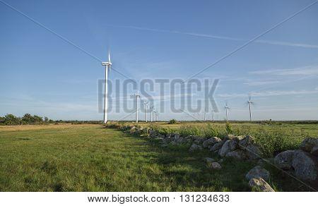 Wind Powerplant Farm in Field in Gotland Sweden.