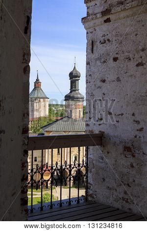 Kirillov, Russia - May 28, 2013: It is the Holy Gates with Gate Church of the 16th century from the height of the bell tower of Kirillol-Belozersky Monastery.