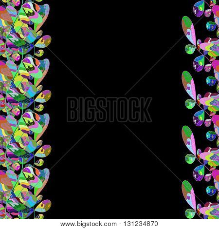 Seamless floral vivid pattern with colorful flowers on black. Vector illustration.