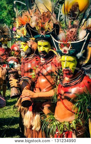 Men In Costumes And Colours In Papua New Guinea