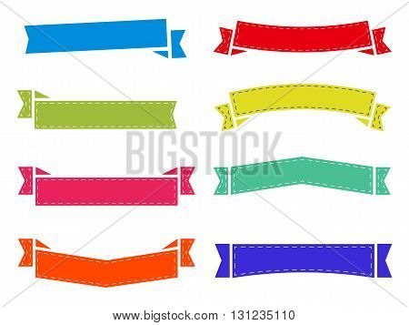 vector set of flat ribbons, stickers without label. decoration stripes
