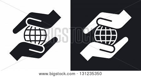 Vector hands protect the earth icon. Two-tone version on black and white background