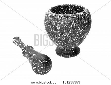 Mortar With Pestle Made Of Clay For Grinding Food