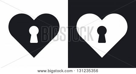Vector heart with keyhole icon. Two-tone version on black and white background