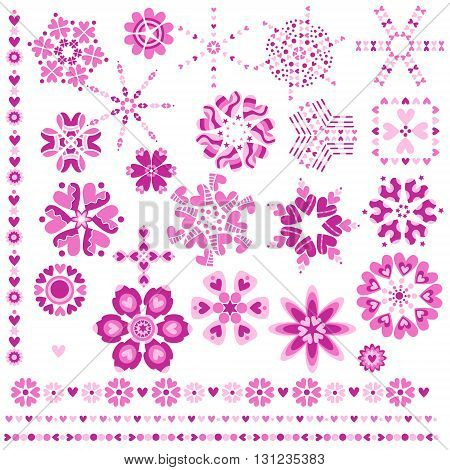 Romantic pink heart ornaments and trims isolated over white background
