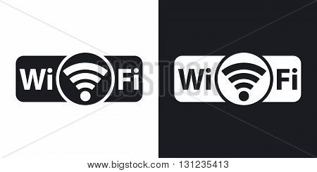 Vector not genuine Wi-Fi icon. Two-tone version on black and white background